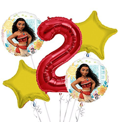Moana Balloon Bouquet 2nd Birthday 5 pcs - Party Supplies by Viva Party