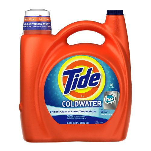 Tide Coldwater High Efficiency Fresh Scent with Actilift, 150-Ounce (Pack of 4) by Tide