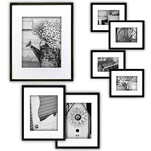 gallery perfect 7 piece black photo frame wall gallery kit 11fw1443 includes frames hanging wall template decorative art prints and hanging hardware