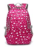 Back to School Backpacks For Girls Kids Primary School Bags Bookbag (Rose Red)