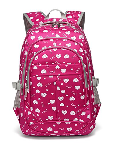 Back to School Backpacks For Girls Kids Primary School Bags Bookbag (Rose Red)]()