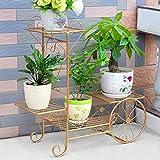 HZB Iron Flower Shelf, Multi-Storey Indoor Floor Type Flower Rack, Golden European Living Room Balcony, Green Flower Flower Rack. (Size : M682467cm)