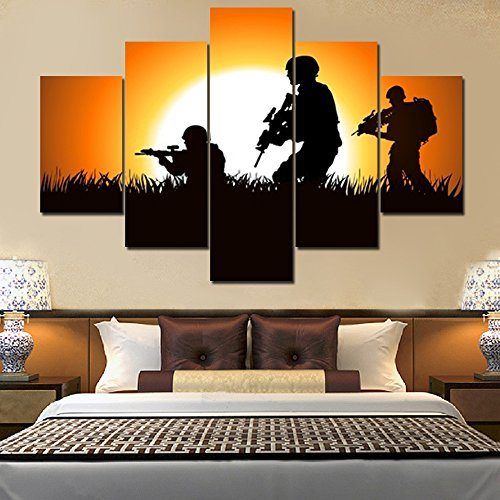 Military Posters and Prints on Canvas 5 Piece Wall Art Extra Large Soldiers Silhouette Picture Painting Giclee Artwork with Wooden Frame Home Decor for Living Room Stretched Ready to Hang(60''Wx40''H)