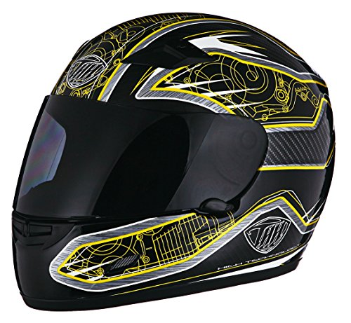 Thh Full Face - THH TS-39 Motor Helmet Black and Yellow Large