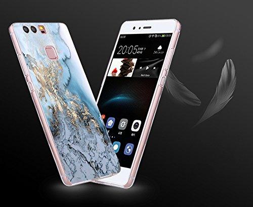 TPU vanki Plus Silikon P9 B di Huawei Case Cover Sottile Custodia Huawei Completa P9 Bordo Cristallo Marmo Trasparente Morbida di per Progettazione Proteggi Copertura Frqz8wtFx