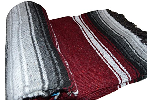 Mexican Blanket Diamond Falsa Xlarge 78 Quot X 54 Quot Maroon Grey