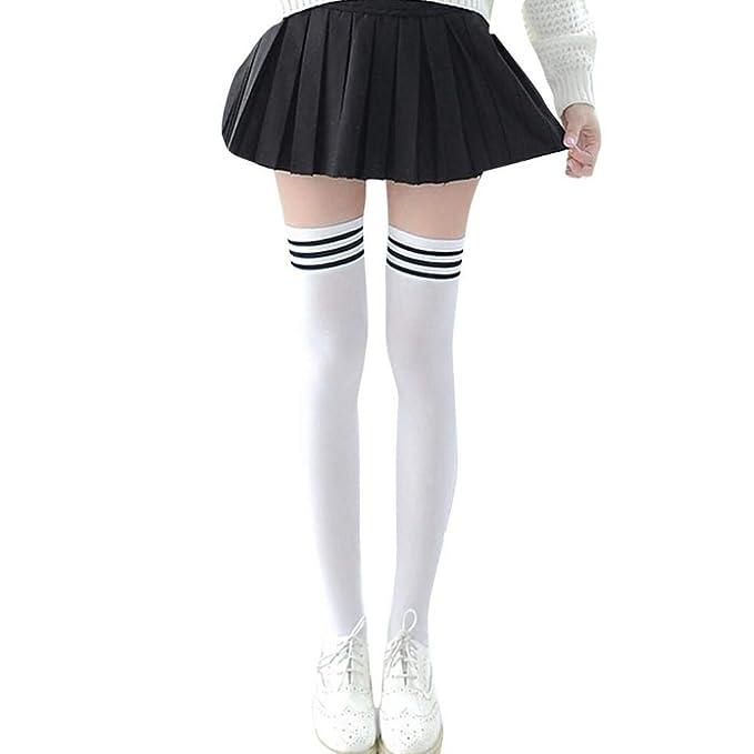Amazon.com: BCDshop Womens Teen Girls Long Striped Socks Fashion Knee Thigh High Socks Stocking (Black): Clothing