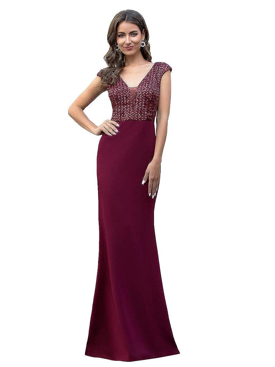 Ever-Pretty Vestiti da Cerimonia Sera Sirena Scollo a V Elegante Lungo Donna con Paillettes 00788
