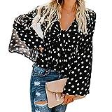Rambling Fashion Womens Long Sleeve Sexy V-Neck Wave Point Print Casual Loose Tops Autumn Fashion Cute Comfort T Shirts