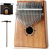 Moozica Mahogany Tone Wood 17 Keys Kalimba Marimba, High Quality Professional Finger Thumb Piano Musical Instrument Gift (K17M)