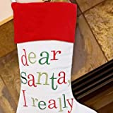 """Embroidered Dear Santa Christmas Stocking, 19"""" Long, Personalized"""