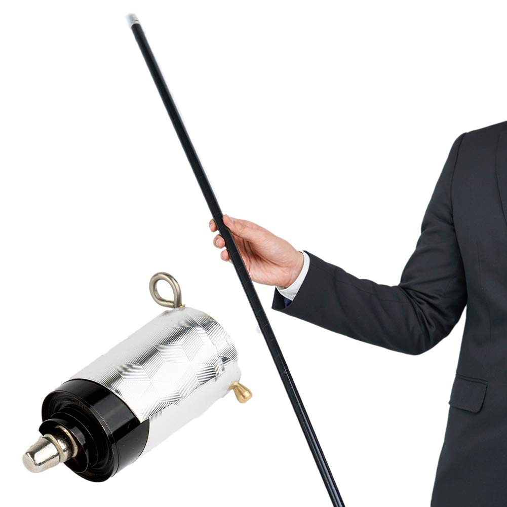 Xfunjoy 43.30''/110cm Black Metal Appearing Cane with Free Gloves and Video Turorial, Pocket Bo Staff Magic Wand Stage Close-up Magic Trick by Xfunjoy