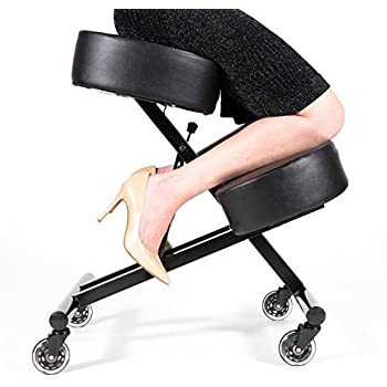 """Sleekform Ergonomic Kneeling Chair - Sturdy Base and 50% Extra Padding for unique balance - Roller Blade Casters - Faux Leather - Home & Office Backless Desk Stool for Good Posture - 4"""" Foam"""