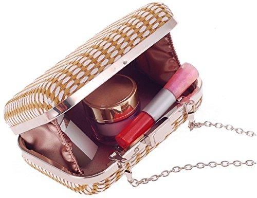 Evening Bettyhome Color Diff Fashion Women Purse Weaven Straw Bag Coffee Chain Clutch wBOqYwZ