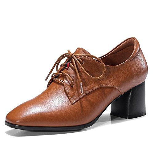 Caramel Pour à Pour Dames Chaussures Cuir Talons Décontractées Femmes épais Chaussures Lacets MUYII à En R476xZq