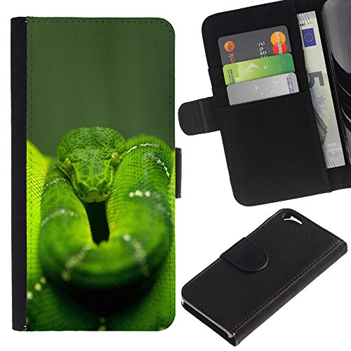 EuroCase - Apple Iphone 6 4.7 - Cool Green Jungle Snake - Cuir PU Coverture Shell Armure Coque Coq Cas Etui Housse Case Cover