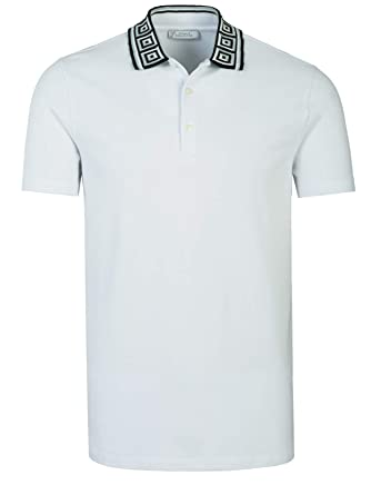 2f0d8ec00 Amazon.com  Versace Collection Men s Cotton Pique Baroque Collar Polo Shirt  White  Clothing