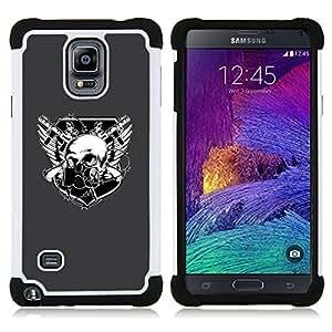 For Samsung Galaxy Note 4 SM-N910 N910 - Skull Goth Crest Dual Layer caso de Shell HUELGA Impacto pata de cabra con im??genes gr??ficas Steam - Funny Shop -