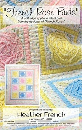 French Roses Buds Baby Infant Quilt Pattern Shabby Chic - Quilt Pattern Rose