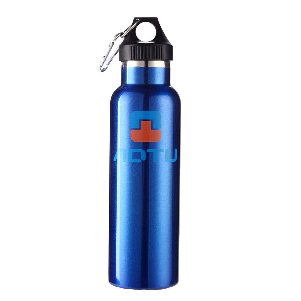 CreazyBee 600ml Household Thermos Outdoor Travel Pot Stainless Steel Mug Water Bottle Narrow Mouth Vacuum Insulated Double Wall Water Bottle (Blue) by CreazyBee
