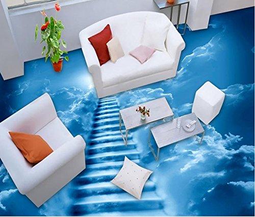 BZDHWWH 3D Flooring PVC Wallpaper Cloud Ladder Flooring for Bathrooms Luxury Wallpaper 3D Floor Murals,60Cm X 90Cm by BZDHWWH
