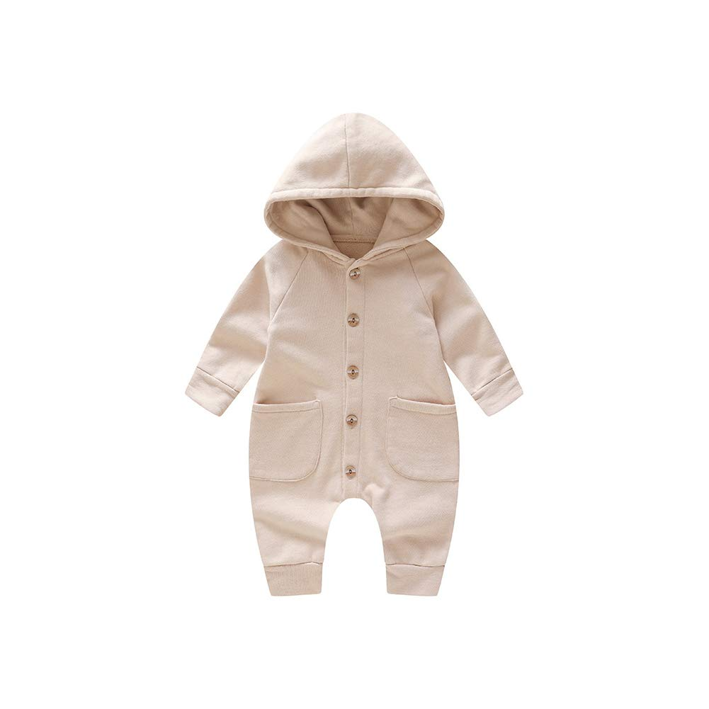 MAOMAHREWW Unisex Babies Autumn/&Spring Romper Solid Color Hooded Cotton Baby Snap Bodysuit