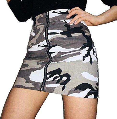 SYTX Womens Classic Military Camo Print Zip up Bodycon Club Cargo Mini Skirts 2 S Camo Cargo Skirt