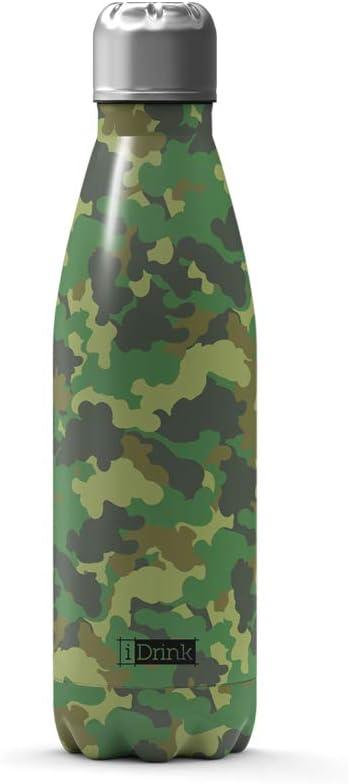I-Drink Bottiglia Termica in Acciaio a Doppia Parete da 500 ml Senza perdite Senza BPA RI01 9 Camo