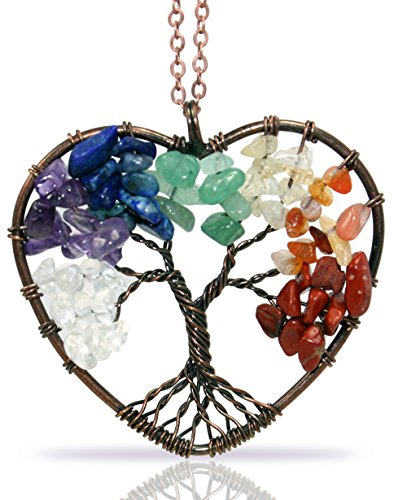 Seven Chakras Tree of Life Heart Necklace Handmade with Gemstones with all Chakra Colors for Energy Balance (Multicolor) (Multi Color Gemstone Heart)