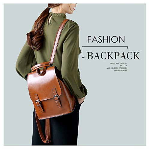 Wax Travel Multifunction Black School Bga Leather Oil Backpack for for Purse Bag Vintage Girls Women Yoome xfSEpq