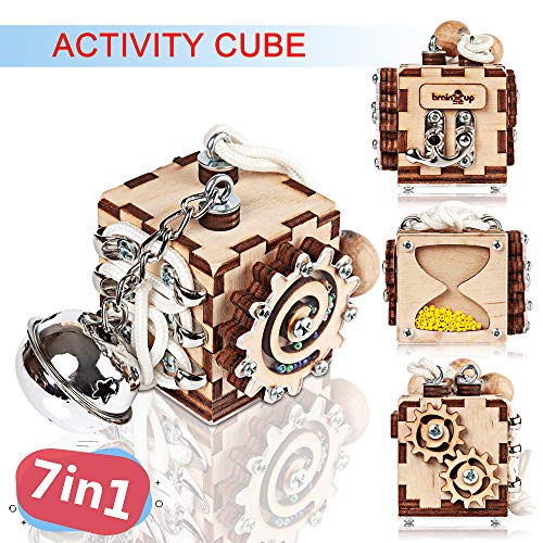 - BrainUpToys Busy Cube for Travel - Activity Cube Toddlers - Sensory Board - Busy Cube for Kids - Boy and Girl 12-18 Month - Baby Travel Toy - Developmental Toy for Children - Playing Montessori Cube