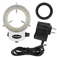 AmScope LED-144W-ZK Iluminador de luz de anillo ajustable de 144 LED blanco para microscopio estéreo y cámara