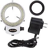 AmScope LED-144W-ZK White Adjustable 144 LED Ring Light Illuminator for Stereo Microscope & Camera