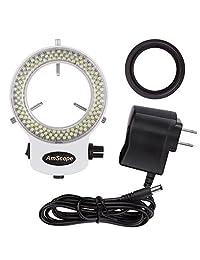 AmScope anillo iluminador LED 144W ZK blanco, ajustable, con 144 LED, para microscopio estéreo y cámara