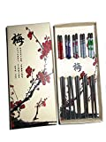 Metal Chopsticks Stainless Steel Reusable Lightweight Chinese Style Flower Chop Sticks Beautiful Gift Box Set Assorted 5 Pairs 23cm