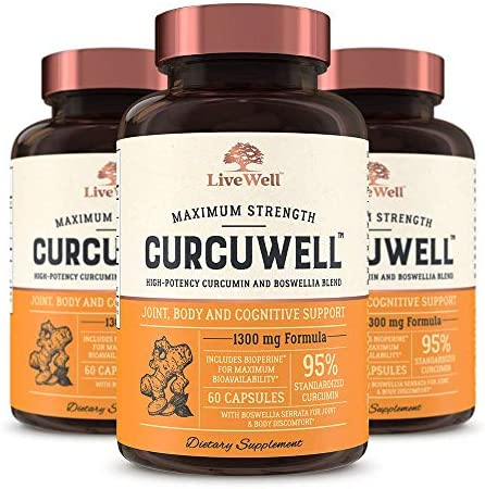 CurcuWell – Maximum Strength Joint, Body and Cognitive Support High-Potency Curcumin and Boswellia Blend – 90 Day Supply