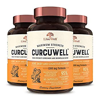 Image of Health and Household CurcuWell - Maximum Strength Joint, Body and Cognitive Support | High-Potency Curcumin and Boswellia Blend - 90 Day Supply
