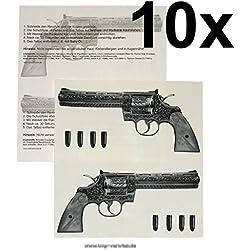 10 x Gun Tattoo - 10 Guns Tattoo - Gangster Revolver Tattoo