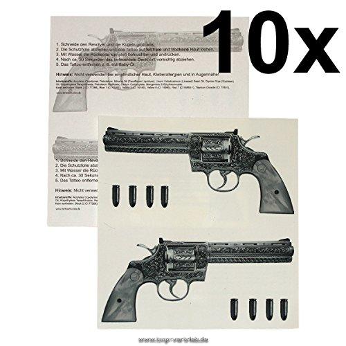 10 x Gun Tattoo - 10 Guns Tattoo - Gangster Revolver -