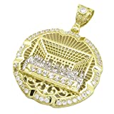 Mens 10k Yellow Gold Round Last supper with stones Jesus 2 Pendant