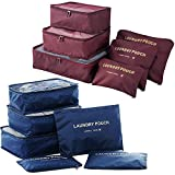 Packing Cubes (2 Sets /12 Pieces) Luggage Organizers/Laundry Bags| JuneBugz Travel Accessory for Suitcases, Carry-on,Back Packs-Organize Toiletries/Clothing/Medicine/Shoes/Passport/Documents