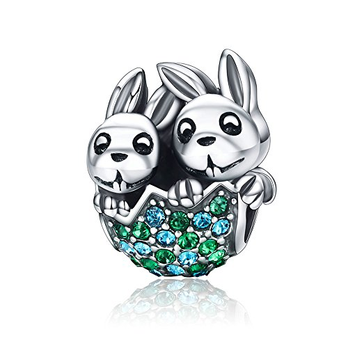 (The Kiss Easter Remarkable Rabbit Tricky Bunny Animal 925 Sterling Silver Bead Fits European Charm Bracelet (Bunny Bust Out of Egg))