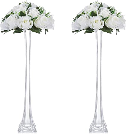 Nuptio 2 Pcs Glass Vase For Flowers Flower Vases For Table 50cm Tall Glass Flower Vase Eiffel Tower Design For Dining Table Centerpiece Wedding Party Events Birthday Reception Baby Shower Decor Amazon Co Uk