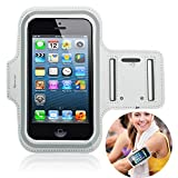 iPhone SE Armband,Sport Armband Water Resistant Screen Protector for Apple iPhone SE 5 5S 5C and iPod Touch 5 With Key Holder and Headphone Jack (White)