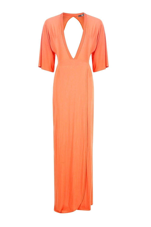 Orange Kerry Rückenfreies Maxikleid Im Kimono-Stil Mit Bindung: Amazon.de:  Bekleidung