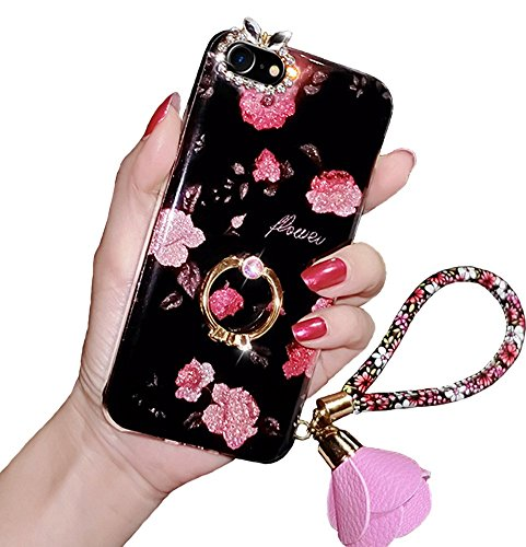 iPhone X Kickstand Case, iPhone 10 Phone Case, Luxury Bling Glitter Soft TPU Gel Beauty Shiny Flower Cute Candy Protective Cover Case for Girls with Wrist Strap (iPhone X, Rose)