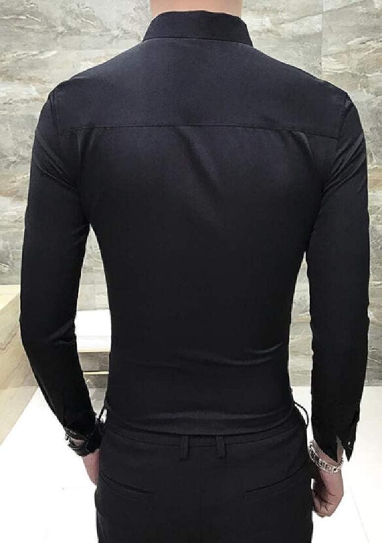 UUYUK Men Long Sleeve Regular Fit Embroidery Fashion Hair Stylist Work Button Down Dress Shirts