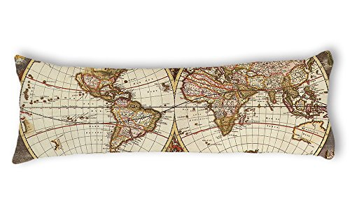 AILOVYO Retro Travel Adventure World Map Machine Washable Silky Shiny Satin Decorative Body Pillow Case Cover, 20 x 54
