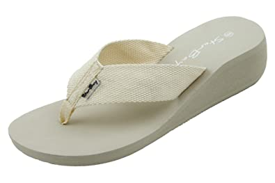 4b9d0bf80 Women s Beige Wedge Canvas Thong Sandal Size 5
