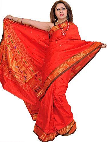 (Exotic India Poppy-Red Paithani Sari with Hand-Woven Peacocks on Aanchal and Brocade Border)